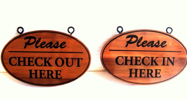 "T29408 - Engraved  Elliptical  Cedar ""Check-In"" and ""Check-Out"" Signs"