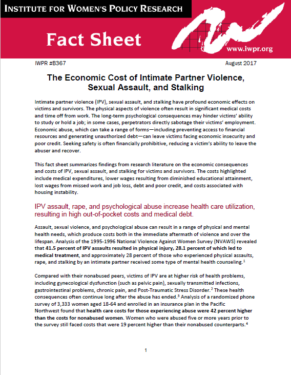 The Economic Impact of Intimate Partner Violence, Sexual Assault, and Stalking