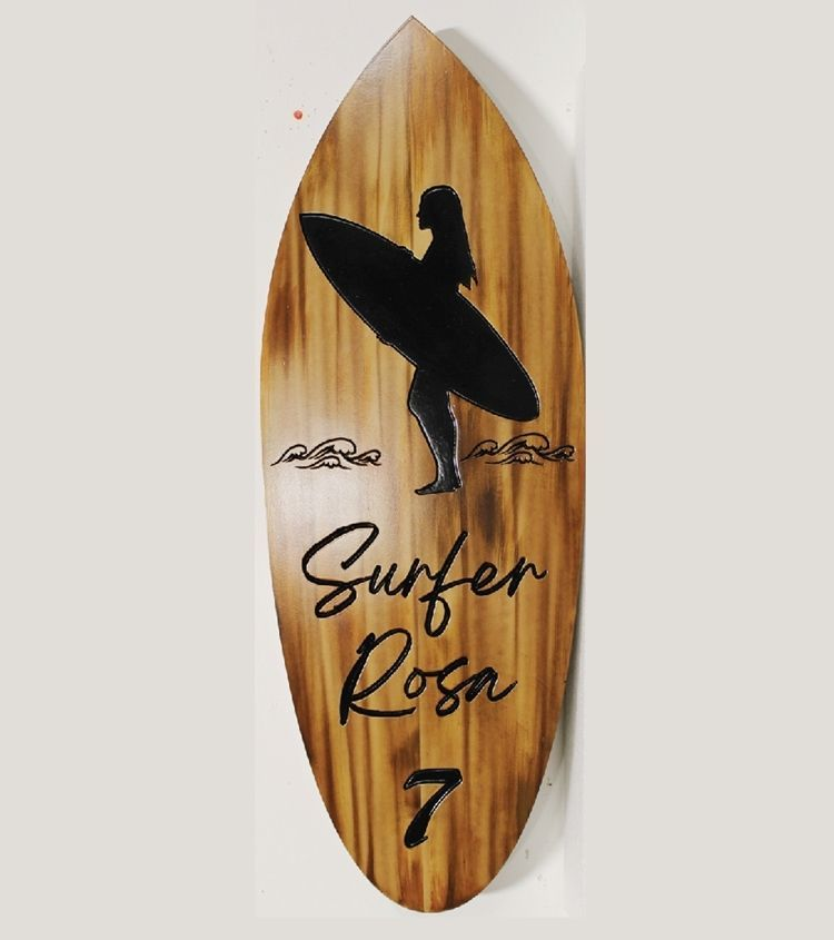 """L21701 - Carved and Engraved HDU Surfer Name and Address Number Sign """"Surfer Rosa"""", with a Silhoette of a Surfer and Surfboard as Artwork"""