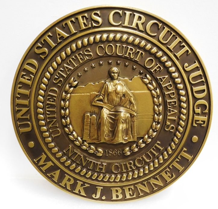 FP-1072 -Carved Plaque of the Seal of a Judge of the US Ninth Circuit Court of Appeals