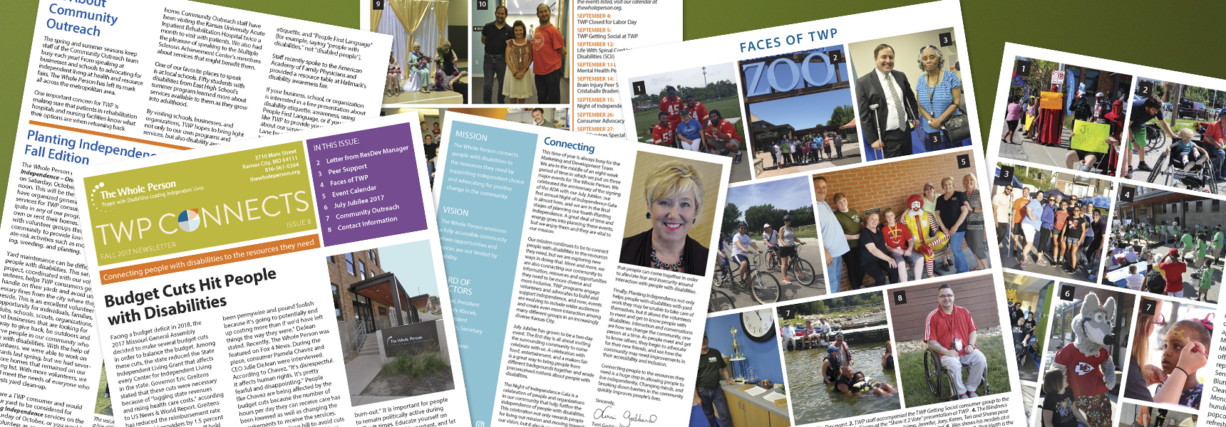 Photo collage of pages from newsletters
