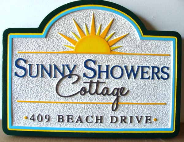 "L21130 - Carved & Sandblasted HDU Beach House, ""Sunny Showers Cottage"", with Sun"