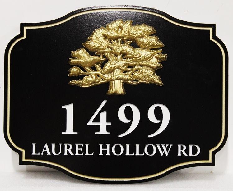 I18309 - Carved 3-D Property Address Sign, for a Residence,   with  24K Gold-Leaf  Gilded Tree as  Artwork