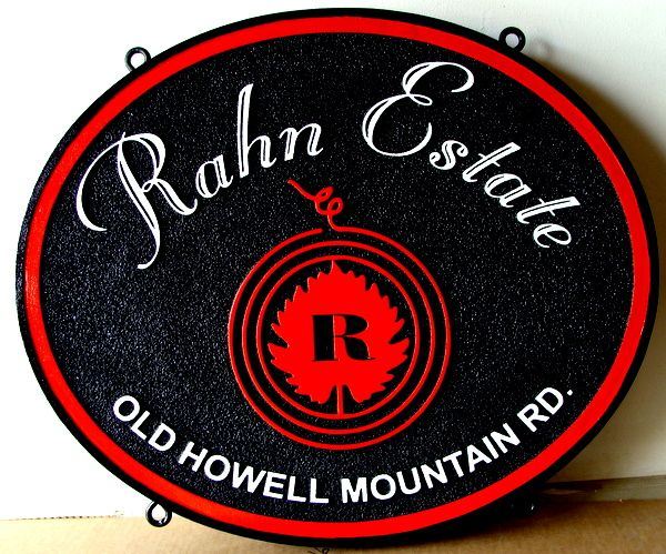 "R27067 - Hanging Carved HDU Winery Sign, ""Rahn Estate"""