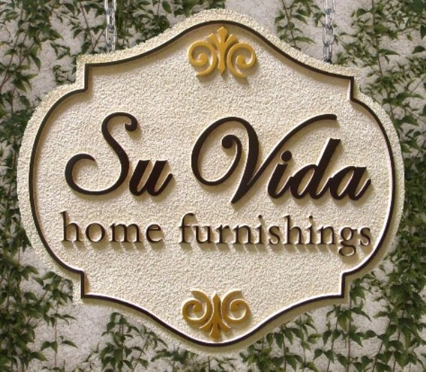"SA28400 - Sandstone-Texture Ornate  Decorative Sign for ""Su Vida""  Home Furnishing Store, with Fleur-de-Lis"
