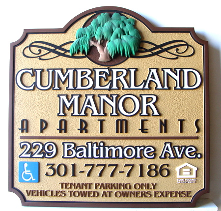 M2126 - Carved Apartment Entrance Sign, with  Willow Tree (Gallery 19)