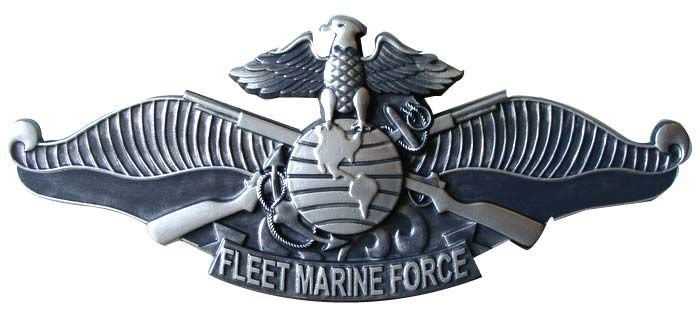 KP-2300 -  Carved Plaque of  the  Badge  of the Fleet  Marine Force,  Nickel-Silver Metal Plated