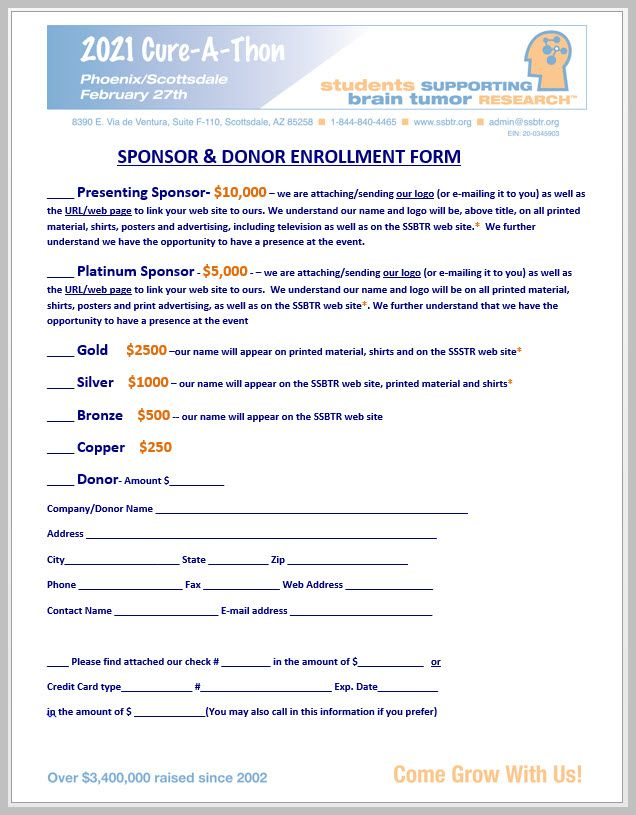 2021 Sponsorship Enrollment Form