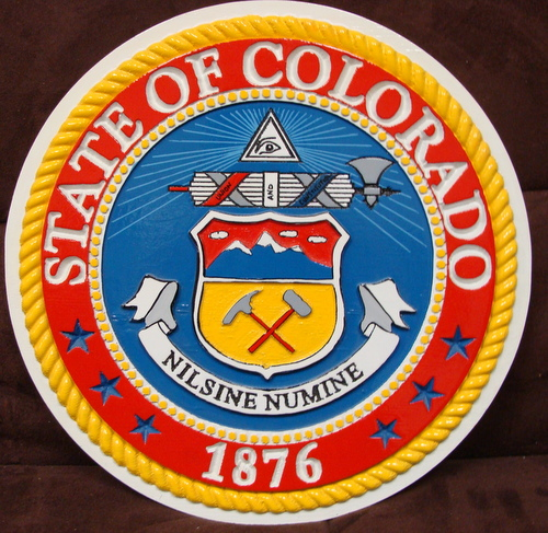 W32080 - 2.5D Carved Wall Plaque of the Great Seal of the State of Colorado