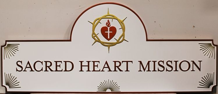 D13128 - Carved Raised Relief HDU Entrance Sign for the Sacred Heart Mission