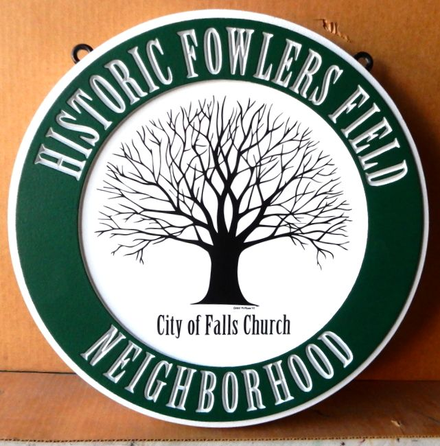 M1650 - Engraved Sign for  City of Falls Church, VA with Large Tree (Galleries 15 and 16A)