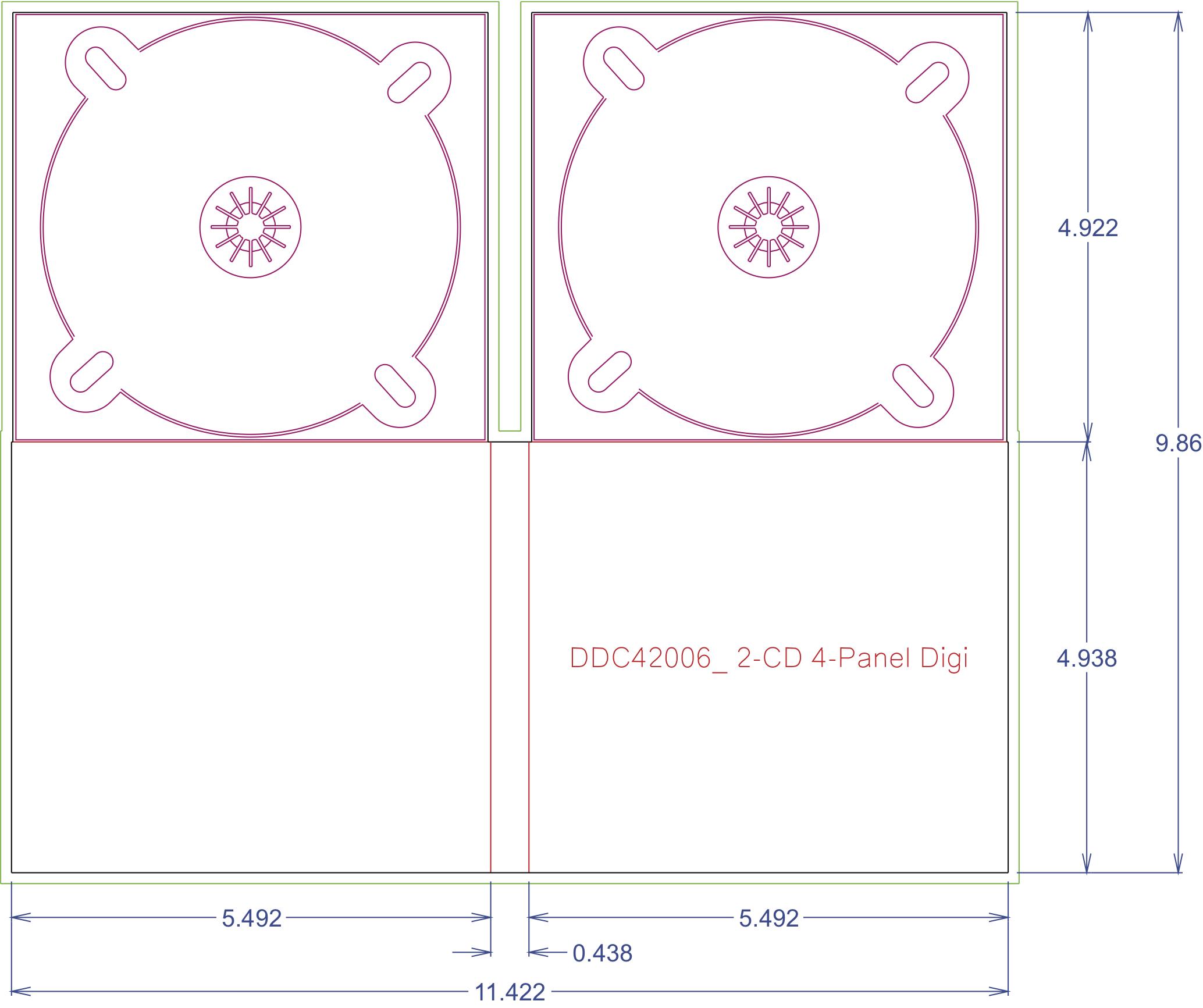 DDC42006 4 Panel Digi 2 Tray, No Pocket