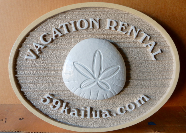 L21512 - Carved  Vacation Rental Sign with  Sand-dollar