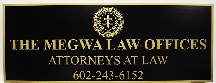 A10518 - CarvedHDU  Sign for the Megwa Law Offices, with Raised Text and Seal Painted Gold Metallic