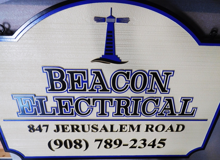 "S28114-  Carved and Sandblasted Wood Grain  HDU Commercial Sign  for the ""Beacon Electrical Company"", 2.5-D Artist-Painted"