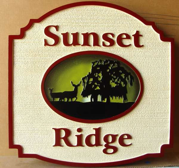 "M22604 - Sandblasted HDU Residence Sign ""Sunset Ridge"" with Silhouette of Willow Tree and Deer"