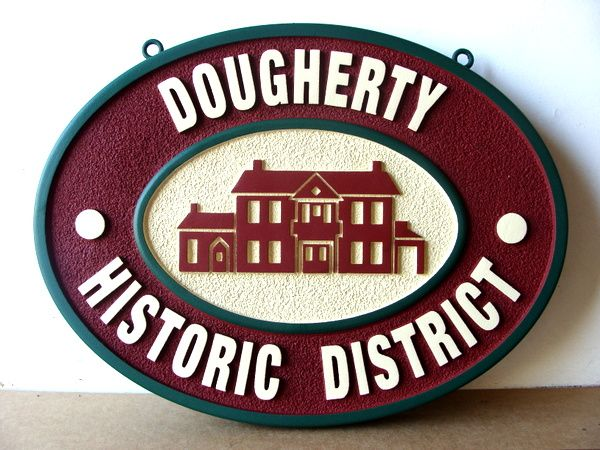 "F15990 - Carved, Raised (2.5D) HDU Sign for Dougherty Historic District"" with Carved Picture of House"