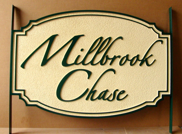 "I18112  - Carved and Sandblasted HDU Propert Name Sign, ""Millbrook Chase"" in Script Font"