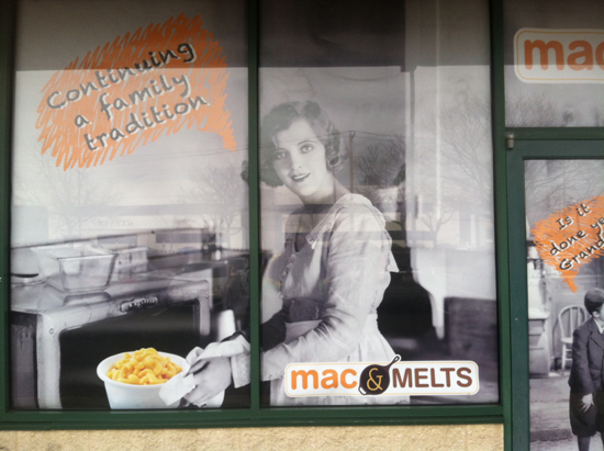 Mac and Melts Window Grapics