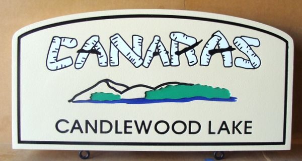 M22342 - Sign for Candlewood Lake with Mountains, Canabis