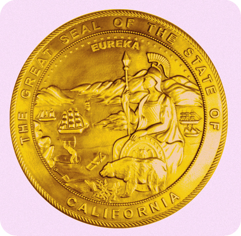 W32073- Great Seal of California Carved 3D Bas-relief HDU Plaque, 24K Gold Leaf Gilded