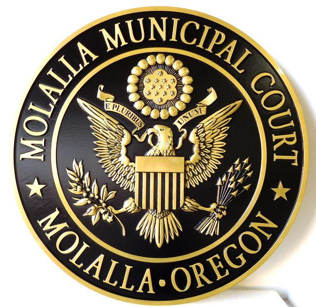M7149 - 3D PolishedBrass Wall plaque for the Molalla Municipal Court