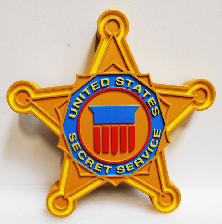AP-1200-  Carved Plaque of the  Badge of the Secret Service, Artist Painted
