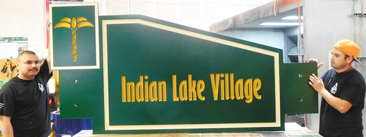 "K20216 - Carved HDU Sign,  for ""Indian Lake Village "" Residential Community"