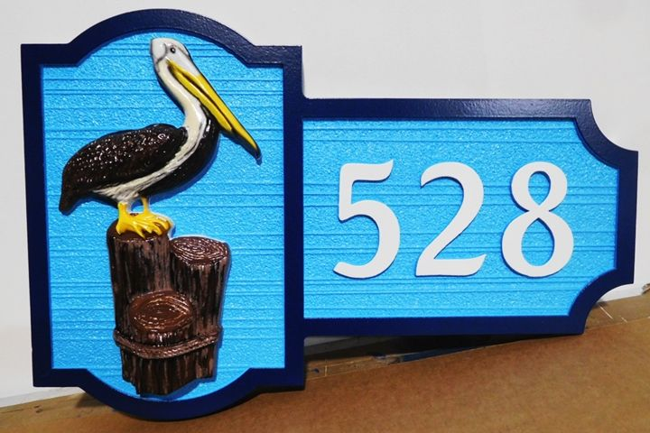 L21608 - Carved 3-D HDU Coastal Home Address  House Sign, with Brown Pelican