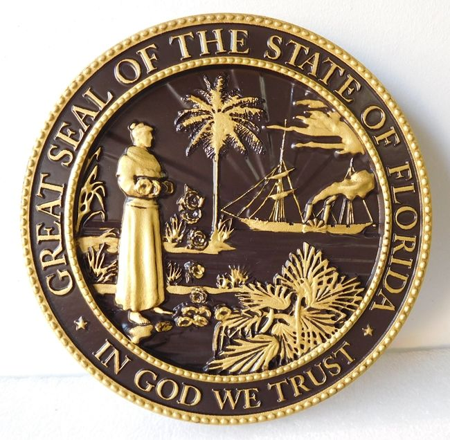 DG417 -  Carved Custom  Round Wall Plaque of the Great Seal of the State of Florida
