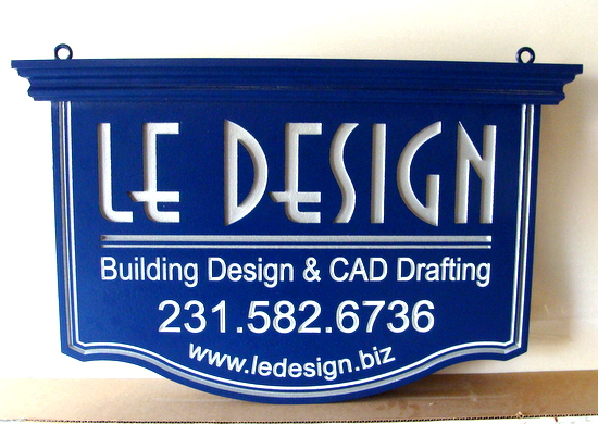 """SA28765 -Engraved Hanging HDU Sign for """"Le Design"""" Building Design and CAD Drafting Company"""