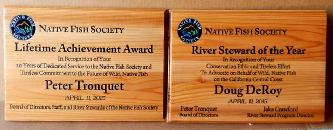 UP-3300 - Engraved Award Wall Plaque for the Native Fish Society, Personalized, Cedar Wood