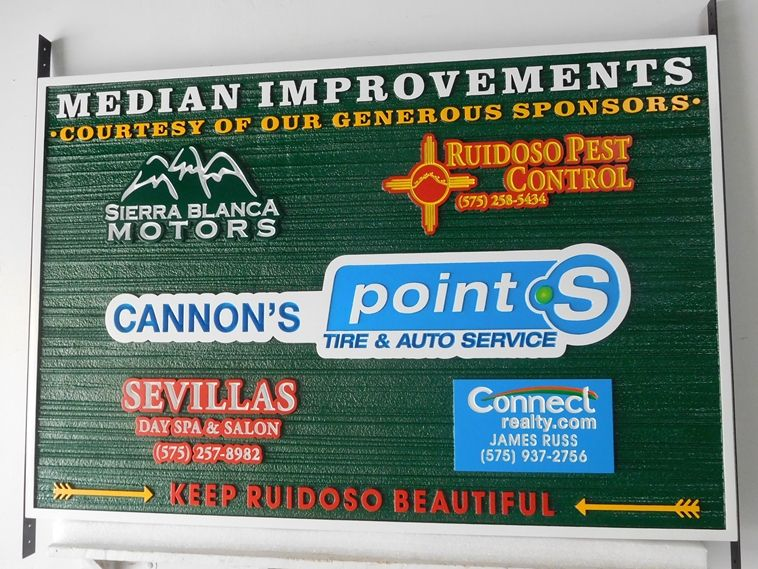 F15561 - Carved and Sandblasted Wood Grain Sign  for Median Improvements for the City of Ruidoso, New Mexico, 2.5-D with Logos of Contributing Companies as Artwork