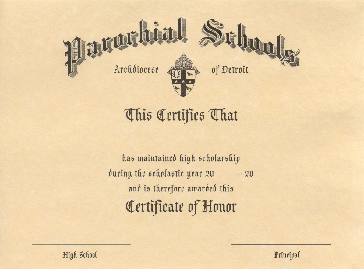 Certificate of Honor - High School