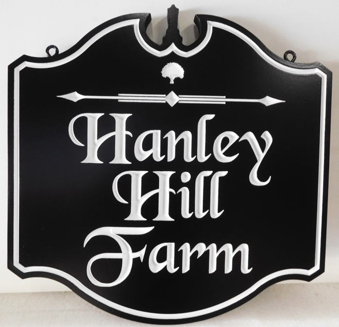 "O24043 - Formal  Ornate Engraved Sign for ""Hanley Hill Farm"", with White Text"
