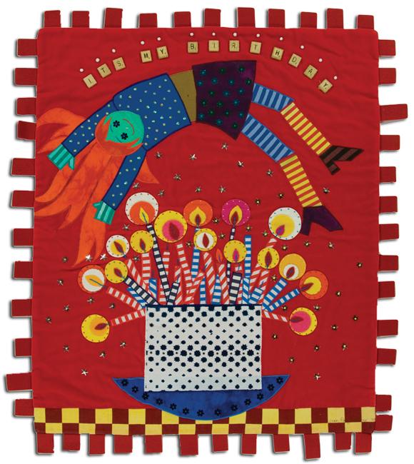 'It's My Birthday,' 2003, felt appliqué, 26.25 x 31 in, IQSCM 2010.014.0003
