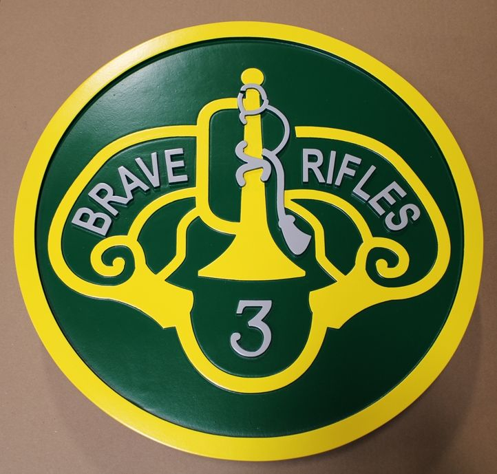 "MP-1597 - Carved Wall Plaque of the Insignia of the 3rd Cavalry Regiment ""Brave Rifles"""
