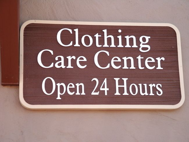 """KA20618 - Carved Wood Grain HDU Sign for Laundry and Dry Cleaning """"Clothing Care Center Open 24 Hours"""""""