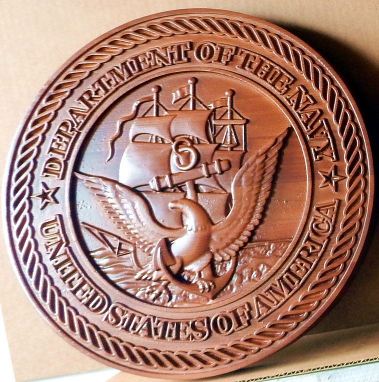 WM1120 - Seal of the US Navy,3-D  Stained Mahogany