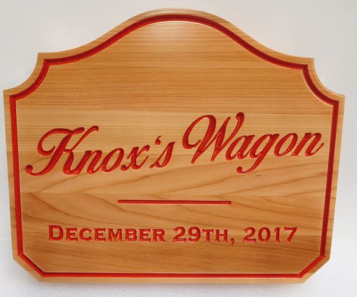 "M22040 - Cedar Wood Cabin Address Sign ""Knox's Wagon"" with  Engraved Painted  Script Font ."