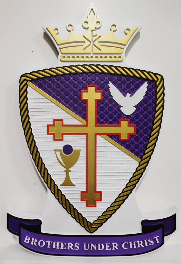 XP-3015- Carved Plaque of Coat-of-Arms of the Brothers under Christ, with Crown, Cross Shield and Banner