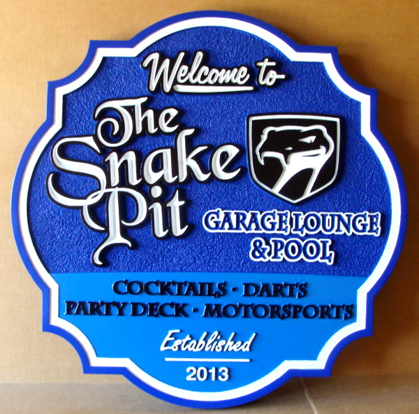 "Y27348 -  Carved and Sandblasted HDU Bar and Swimming Pool  Sign , ""The Snake Pit"""