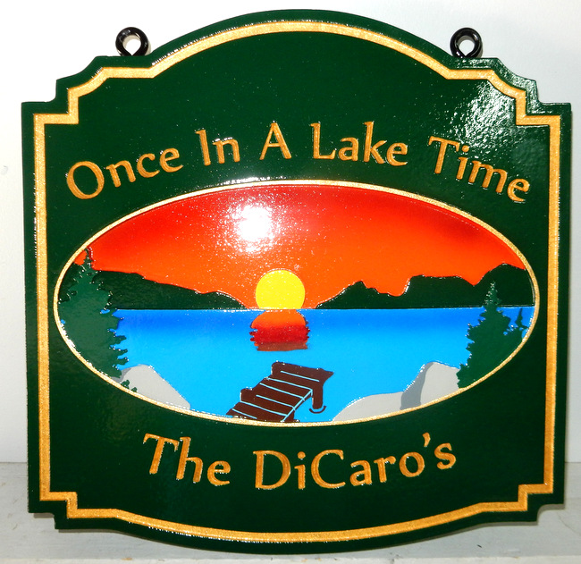 "M22302 - ""Once in a Lake Time"" Lake Residence Sign with Lake, Mountains, Setting Sun and Dock"