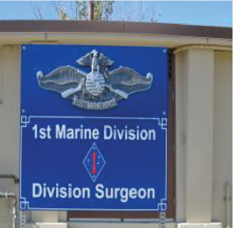 V31424A - Carved 3D USMC Emblem on Division Surgeon Sign at Camp Pendleton