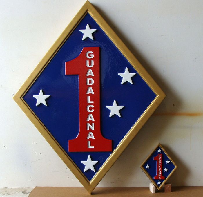 V31422 - Carved HDU Wall Plaque for 1st Marine Division