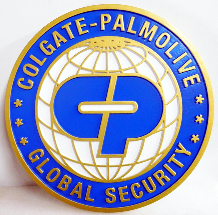 VP-1340 - Carved Wall Plaque of the Logo of Colgate-Palmolive Industrial Security, Artist Painted