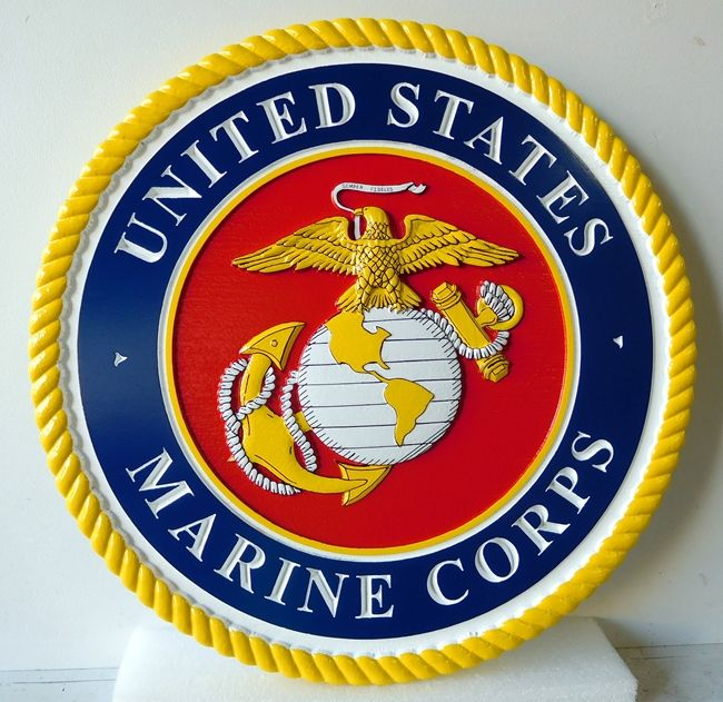 DG406 - Carved Custom  Round Wall Plaque of the Emblem of the United States Marine Corps