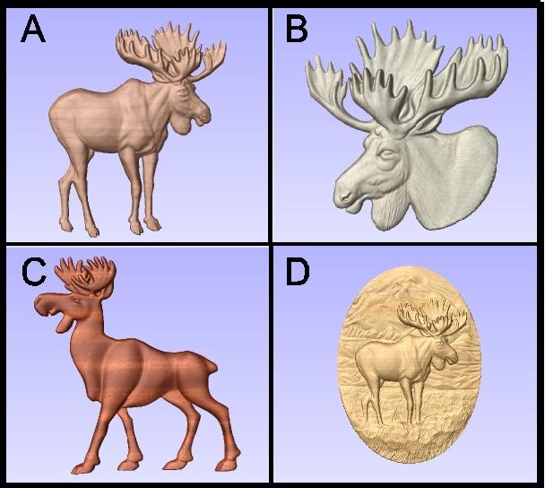M22991 - Carved 3D Wood Appliques of  Moose