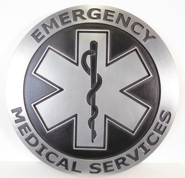 QP-1170 - Carved Plaque for Badge of a Emergency Medical Services Department, 2.5-D Aluminum-Plated