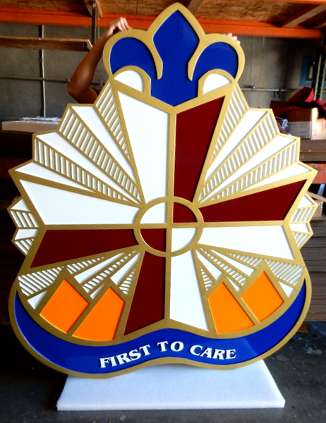 MP-2440 - Carved Plaque of the Insignia of a Medical  Unit of the US Army,  Artist Painted